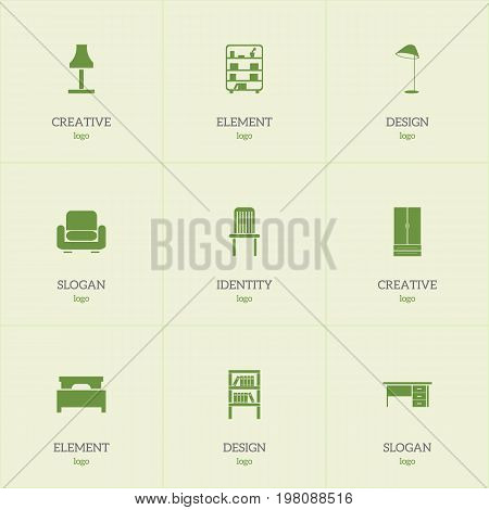 Set Of 9 Editable Furniture Icons. Includes Symbols Such As Stillage, Glim, Recliner And More