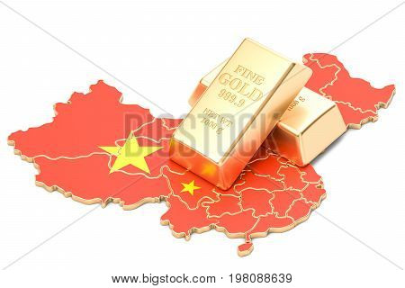 Foreign-exchange reserves of China concept 3D rendering isolated on white background