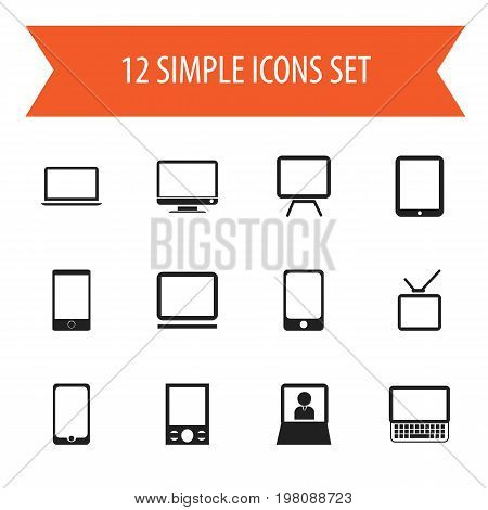 Set Of 12 Editable Instrument Icons. Includes Symbols Such As Monitor, Telephone, Tablet Phone And More