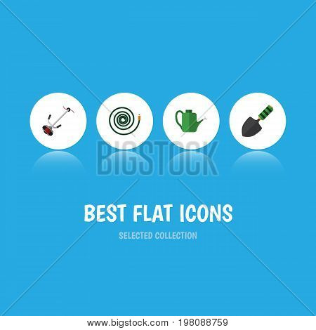 Flat Icon Farm Set Of Trowel, Bailer, Grass-Cutter And Other Vector Objects