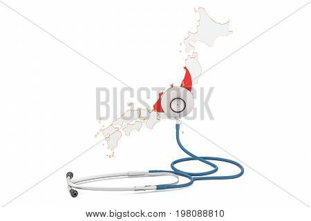 Japanese map with stethoscope national health care concept 3D rendering