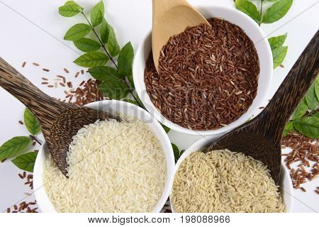 Set of jasmine rice collection have carbohydrates, vitamin and mineral that good for health on isolated white background.