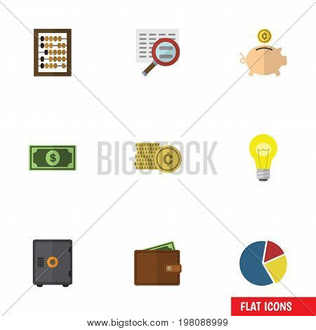 Flat Icon Finance Set Of Money Box, Cash, Bubl And Other Vector Objects