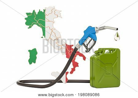 Production and trade of petrol in Italy concept. 3D rendering isolated on white background