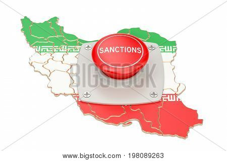 Sanctions button on map of Iran 3D rendering isolated on white background