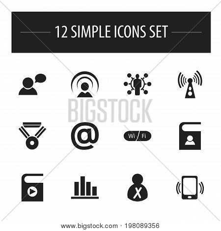 Set Of 12 Editable Global Icons. Includes Symbols Such As Skill, Line Chart, Song List And More
