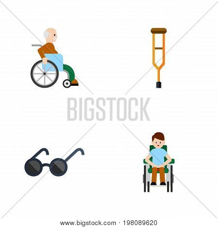 Flat Icon Handicapped Set Of Spectacles, Disabled Person, Stand Vector Objects