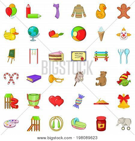 Childhood play icons set. Cartoon style of 36 childhood play vector icons for web isolated on white background