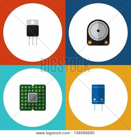 Flat Icon Electronics Set Of Hdd, Unit, Transistor And Other Vector Objects