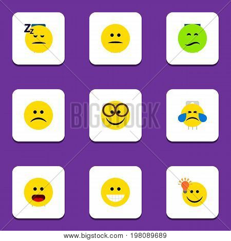 Flat Icon Expression Set Of Asleep, Wonder, Have An Good Opinion And Other Vector Objects