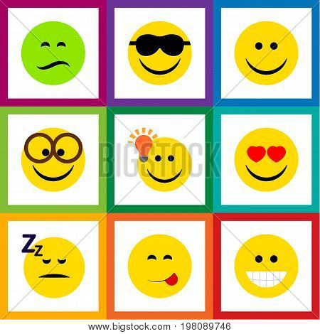 Flat Icon Emoji Set Of Have An Good Opinion, Asleep, Happy And Other Vector Objects