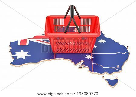 Shopping basket on Australian map market basket or purchasing power in Australia concept. 3D rendering