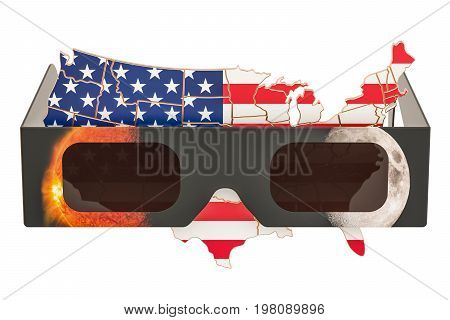 Solar Eclipse in USA concept American map with solar eclipse glasses. 3D rendering