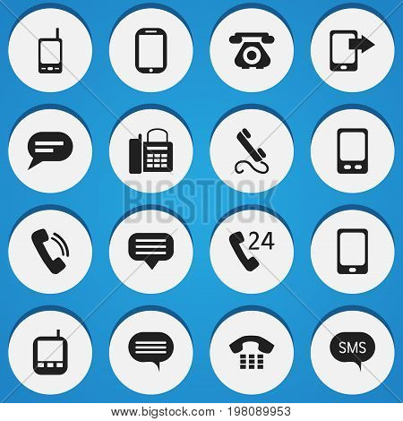Set Of 16 Editable Gadget Icons. Includes Symbols Such As Share Display, Radio Talkie, Message And More