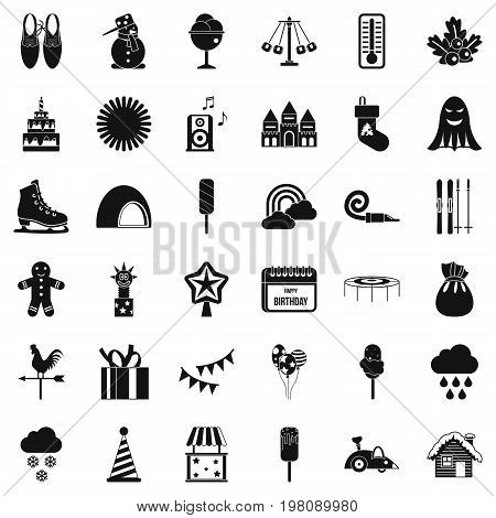 Children party icons set. Simple style of 36 children party vector icons for web isolated on white background