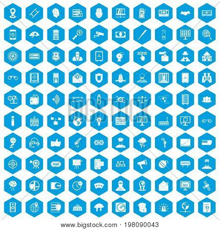 100 security icons set in blue hexagon isolated vector illustration