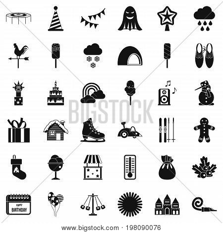 Children carousel icons set. Simple style of 36 children carousel vector icons for web isolated on white background