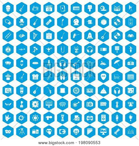 100 show business icons set in blue hexagon isolated vector illustration