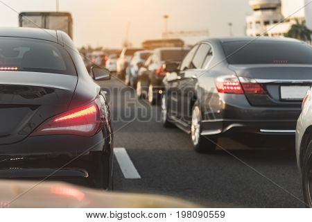 Traffic Jam With Row Of Cars On Toll Way