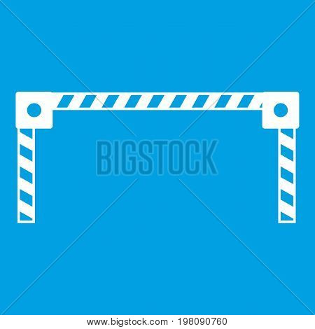 Barrier icon white isolated on blue background vector illustration