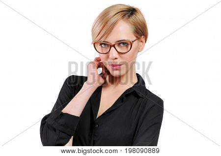 Lovely Woman With Trendy Glasses Looking At The Camera