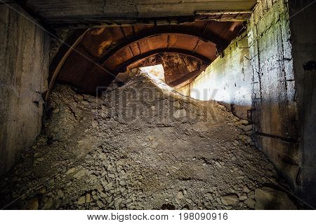 Collapsed exit from underground construction under Sevastopol