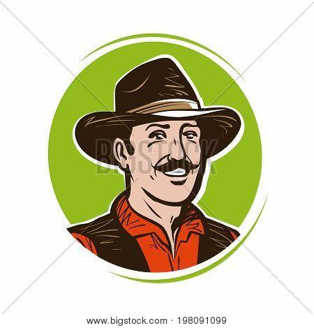 Farmer logo or label. Portrait of happy cowboy in hat. Cartoon vector illustration