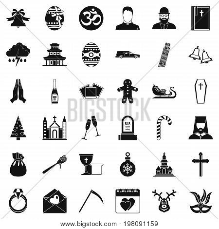 Church icons set. Simple style of 36 church vector icons for web isolated on white background