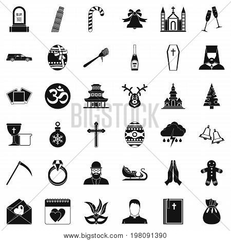 Christianity icons set. Simple style of 36 christianity vector icons for web isolated on white background