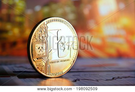 golden lite coin against  on colorful background