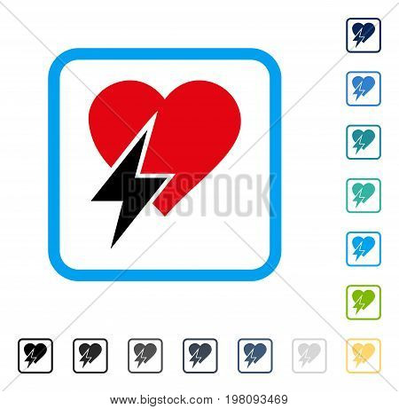 Heart Shock icon inside rounded square frame. Vector illustration style is a flat iconic symbol in some color versions.