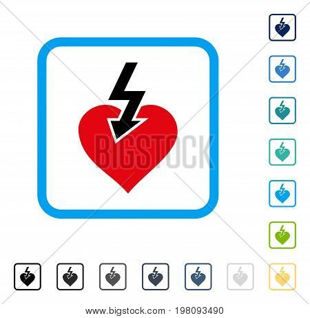Heart Shock Strike icon inside rounded square frame. Vector illustration style is a flat iconic symbol in some color versions.