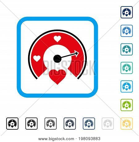 Love Gauge icon inside rounded square frame. Vector illustration style is a flat iconic symbol in some color versions.