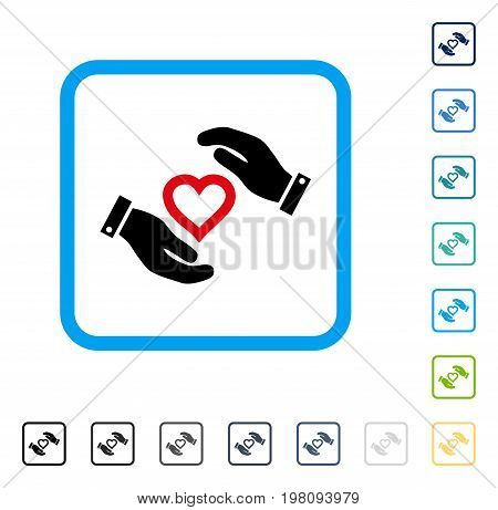 Love Heart Care Hands icon inside rounded rectangle frame. Vector illustration style is a flat iconic symbol in some color versions.