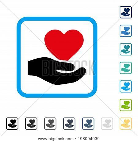 Love Heart Offer Hand icon inside rounded square frame. Vector illustration style is a flat iconic symbol in some color versions.