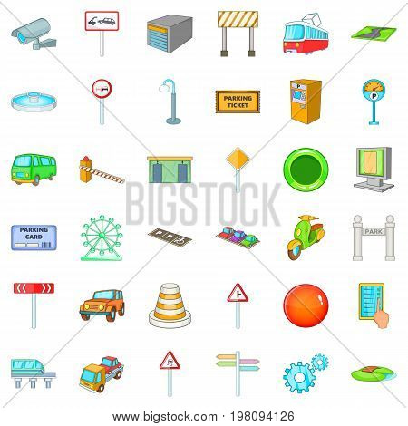 City gps icons set. Cartoon style of 36 city gps vector icons for web isolated on white background