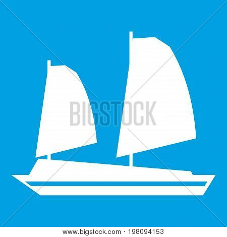Vietnamese junk boat icon white isolated on blue background vector illustration
