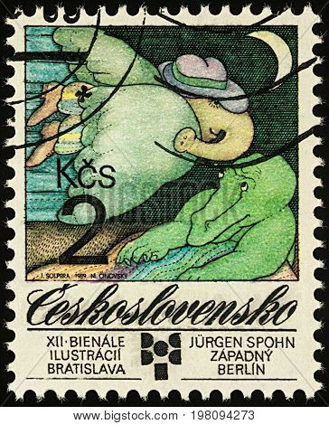 Moscow Russia - August 02 2017: A stamp printed in Czechoslovakia shows elephants by Jurgen Spohn West Berlin series