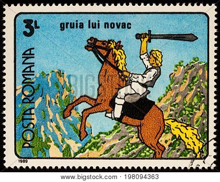 Moscow Russia - July 31 2017: A stamp printed in Romania shows Gruia Lui Novac a frame from Cartoon film series
