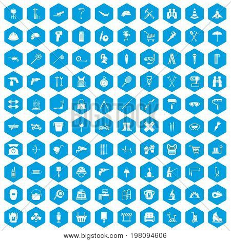 100 tackle icons set in blue hexagon isolated vector illustration