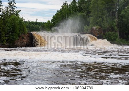 Middle Falls of the Pigeon River seen from the American side of the border between Canada and the U.S.A.