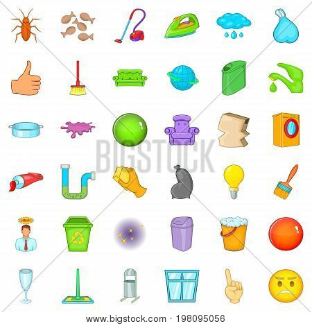Big cleaning icons set. Cartoon style of 36 big cleaning vector icons for web isolated on white background