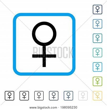 Venus Female Symbol icon inside rounded rectangle frame. Vector illustration style is a flat iconic symbol in some color versions.