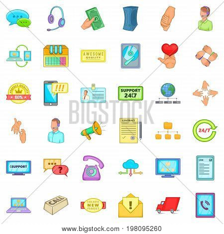 Good support icons set. Cartoon style of 36 good support vector icons for web isolated on white background