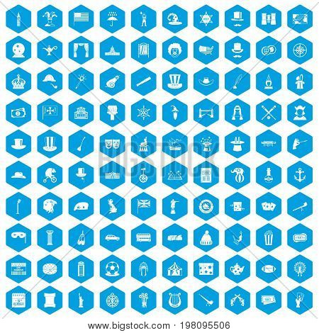 100 top hat icons set in blue hexagon isolated vector illustration