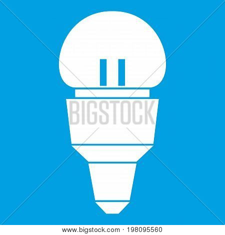 Reflector bulb icon white isolated on blue background vector illustration