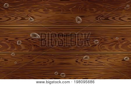 Wood texture pattern with water drops. Brown wood Vector illustration, wooden background
