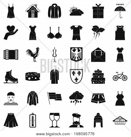 Clothing accessories icons set. Simple style of 36 clothing accessories vector icons for web isolated on white background