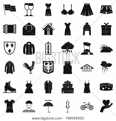 Different clothing icons set. Simple style of 36 different clothing vector icons for web isolated on white background