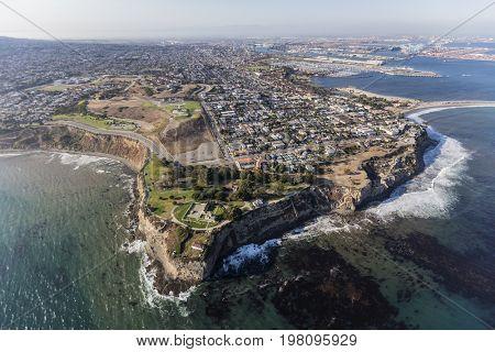 San Pedro pacific ocean coastline aerial in Los Angeles, California.